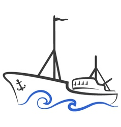 fishing boat silhouette vector image