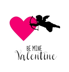 Love Card with Cupid and Heart - Valentines Day vector image vector image