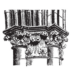 Pier cap and arch moldings from chartres vector