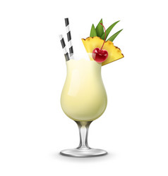 pina colada cocktail vector image vector image