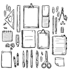 set of stationery drawings vector image vector image
