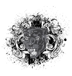 vintage t-shirt design with animal face vector image