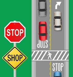 Busy Traffic Cars Stop Sign Street vector image vector image