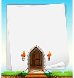 Castle entrance on paper vector image vector image