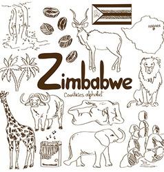 Collection of Zimbabwe icons vector image