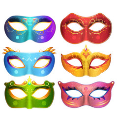 face masks collection for masquerade party vector image vector image