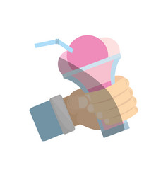 Hand holding glass cup ice cream cherry vector