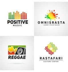 Set of positive africa ephiopia flag logo design vector image vector image