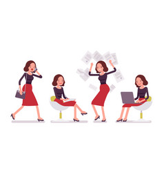 set of young secretary in office scenes vector image vector image