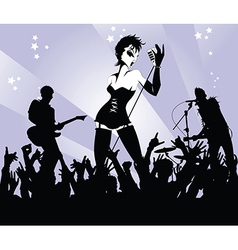 Woman singer in a band vector image vector image