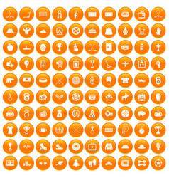 100 hockey icons set orange vector