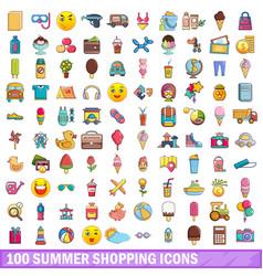 100 summer shopping icons set cartoon style vector