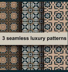 3 luxury patterns vector image