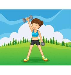 A hilltop with a girl exercising vector