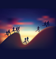 Active business people run on chart silhouette vector