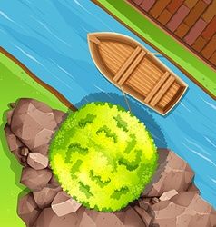 Aerial view of boat in stream vector