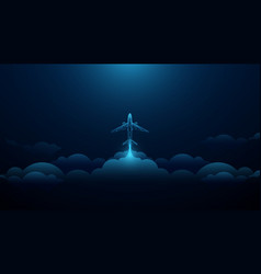 airplane taking off in cloudy sky startup business vector image