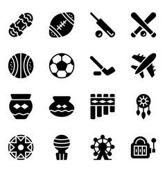 American sports and tribal elements solid icons vector