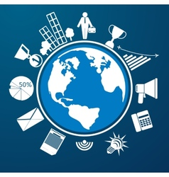 around world with item icons vector image