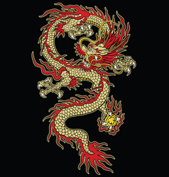 asian tattoo dragon design in color vector image