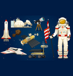 astronaut in space spaceman explores the galaxy vector image