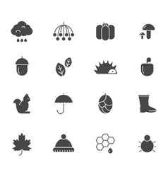autumn black icons various silhouettes autumn vector image