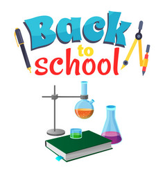 Back to school sticker with laboratory equipment vector