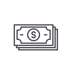 banknotesdollars line icon sign vector image