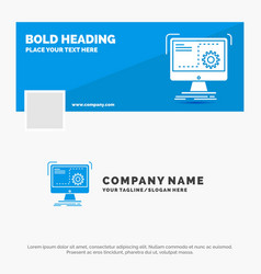 Blue business logo template for command computer vector