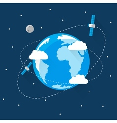 Blue Earth in space Modern Flat Design vector image