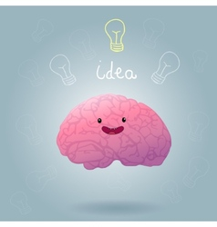 Brainstorm happy brain vector image