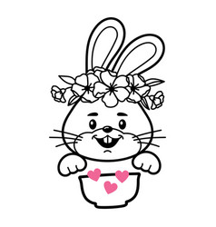 bunny with cereal bowl baby clothes print vector image