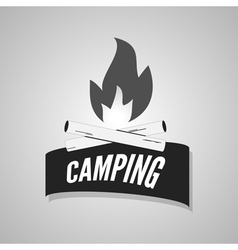 Camping bonfire logo labels and badges vector image