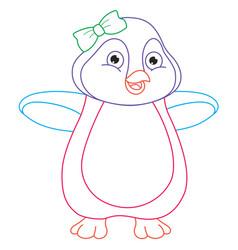 Cartoon penguin coloring page vector