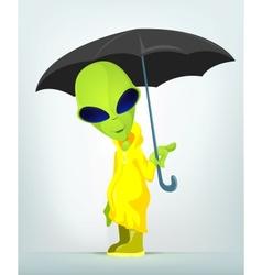 Cartoon Umbrella Raining Alien vector