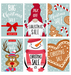 christmas sale card collection vector image