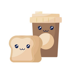 coffee in plastic container with bread kawaii vector image