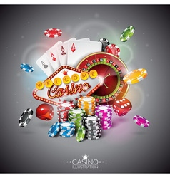 color playing chips and poker cards vector image