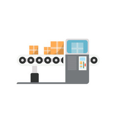 Conveyor with scanner machine isolated icon vector