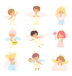 cute baangels with nimbus and wings set vector image