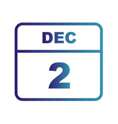 December 2nd date on a single day calendar vector