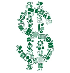 Dollar sign of business and financial icons vector image