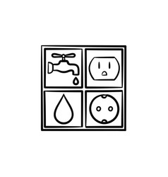 Electricity and water signs hand drawn sketch icon vector