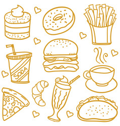 Fast food doodles vector