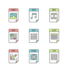 Files format color icons set image multimedia vector