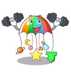 Fitness character hanging toy attached to cot vector