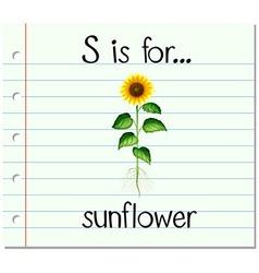 Flashcard letter S is for sunflower vector
