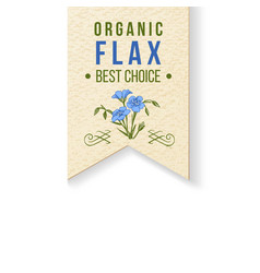Flax label with type design vector