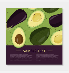 Fresh eggplant and avocado recipe or cooking card vector