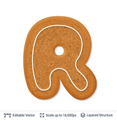 Gingerbread letter r isolated on white vector